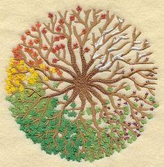 VIER Jahreszeiten TREE Design Maschine bestickt Quilt Block, Quilt Square, Panel