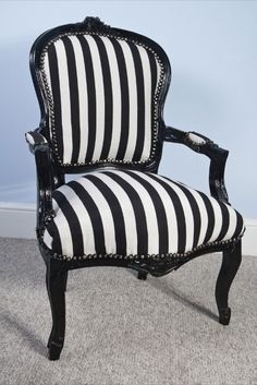 Black & White Stripe Louis Vintage Style Fabric Salon Chair | eBay
