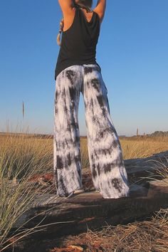 black and white tie dye palazzo (wide leg, goucho) yoga lounge beach resort casual pants with  side drawstring