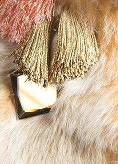 Peach Fur collar pastel rabbit fur orange beige by NATIPUREIDEA
