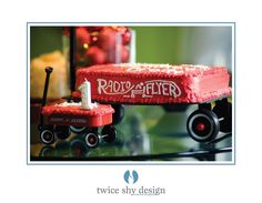 Radio flyer wagon cake and smash cake  @Michele Morales Morales Waugh