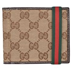51f546a28 New Gucci Men s 224187 Beige GG Red Web Band Money Clip Wallet Green Web