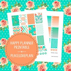 Coral Turquoise MAMBI Happy Planner Printable - Weekly Set, Happy Planner…