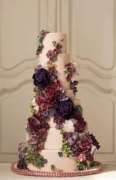 Wedding cake idea; Featured Cake: Nadia & Co #purpleweddingcakes