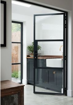 Modern Interior Doors Custom Made With A Minimalist Door Frame. Modern Interior Doors With An Invisible Door Frame. New Crittall Style Glass Paritions Doors! Home and Family Devol Shaker Kitchen, Devol Kitchens, Home Kitchens, Home Interior, Kitchen Interior, Kitchen Design, Interior Door, Stylish Interior, Interior Trim