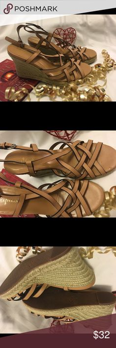 """Cole Hahn 8b Brown Wedge Womens Sandals Brand new!  Wedge Sandler by Cole Hahn. 8b Tan Wedge heel 4""""  Thank you SO much for visiting my Posh Closet.  If you have questions just let me know.  Feel free to make an offer and/or bundle.  Happy Shopping!!! 💕💕💕  1b 1/30 Cole Haan Shoes Wedges"""