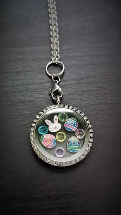 Pandora Jewelry OFF!>> Easter-Themed Floating Locket Necklace-Includes by PrettyPalazzo Locket Charms, Locket Necklace, Pendant Necklace, Necklaces, Bracelets, Origami Owl Lockets, Origami Owl Jewelry, Origami Necklace, Floating Lockets