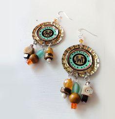 JWD Mint Bottle Cap Earrings by scraptherapymon on Etsy, $22.00