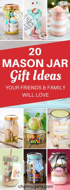 These mason jar gift ideas are AWESOME! My friends and family will ADORE these gifts! I'm definitely repinning this gift guide! #gifts #giftideas #masonjar #masonjargifts