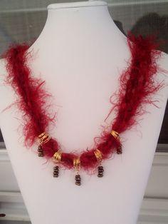 Fiber Necklace  Ribbon yarn necklace  Beaded Necklace  Dark Red Necklace