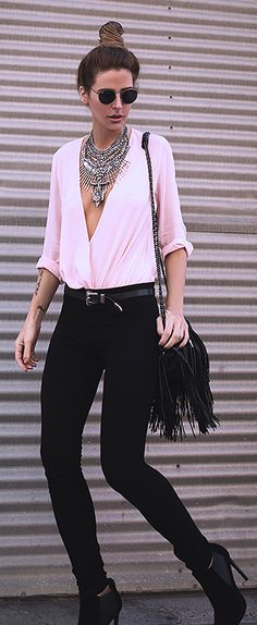 Blush Plunge V Neck Wrap Blouse by