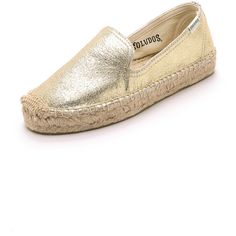 Soludos Leather Platform Smoking Slipper Espadrilles - Gold (5.750 RUB) found on Polyvore featuring shoes and slippers