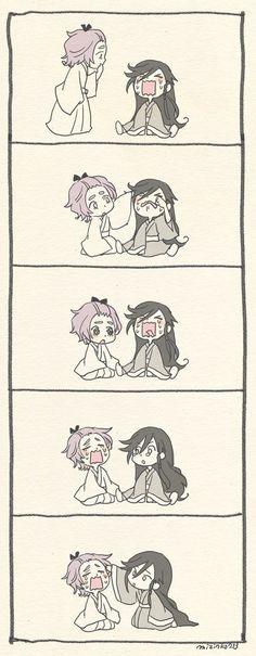 When one starts crying one cries with him/her Kawaii Chibi, Anime Chibi, Touken Ranbu, Loki Imagines, Funny Comic Strips, Rurouni Kenshin, Shounen Ai, Mystic Messenger, Manga Comics