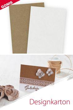 Ideal für jedes Stempelprojekt: fester, saugfähiger Karton in Natur oder Weiß von GONIS. Place Cards, Container, Place Card Holders, Design, Die Cutting, Stamping, Creative Ideas, Paper Board, Decorating