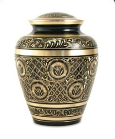 Effulgent Black and Gold Engraved Large Brass Cremation Urn Adult Human Funeral Urn  Hand Made *** Check out this great product.