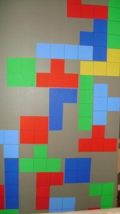80s bachelorette house party decorative Tetris wall More