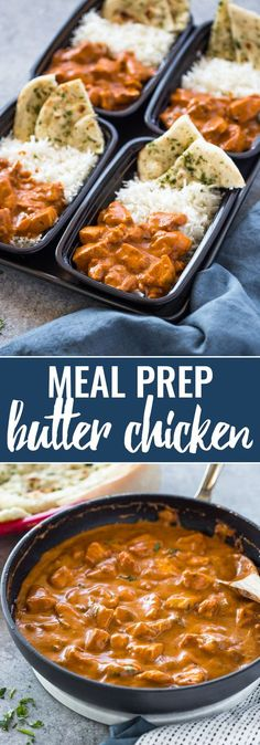 Meal-Prep Butter Chicken Meal-Prep Butter Chicken with Rice and Garlic Naan Lunch Meal Prep, Meal Prep Bowls, Easy Meal Prep, Healthy Meal Prep, Easy Meals, Meal Prep Freezer, Freezer Meals Healthy, Meal Prep Containers, Lunch Recipes