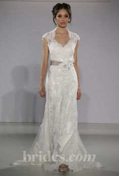 """Brides.com: Maggie Sottero -Fall 2013. """"Lara"""" lace sheath wedding dress with delicate cap sleeves, a sweetheart neckline, and floral sash, Sottero and Midgley  See more Maggie Sottero wedding dresses in our gallery."""