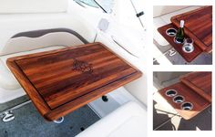 Marine Teak table with compass rose inlay and retractable cupholders Sailboat Interior, Yacht Interior, Carver Yachts, Teak Table, Boat Accessories, Boat Stuff, Compass Rose, Yacht Design, Cabin Interiors