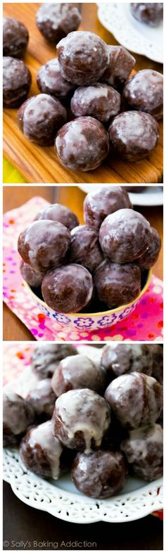 Bakery-Style Chocolate Donut Holes, baked not fried, and thickly covered in a sweet glaze. These are so simple to make!: