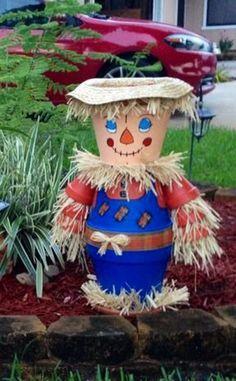 Terra cotta pot scarecrow