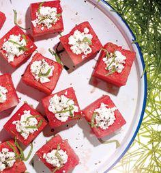 Feta-Stuffed Watermelon Blocks -- What a great idea for a sweet & salty summer appetizer!