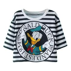 Donald Duck Printed Striped T-shirt ($17) ❤ liked on Polyvore featuring tops, t-shirts, shirts, crop top, striped crop tee, cami crop top, cropped camisole and stripe crop top