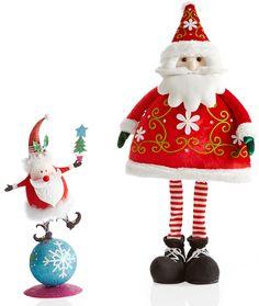 Pier 1 Glitter Balancing Santa and Skinny Leg Santa bring the eye candy