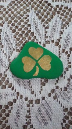 Shamrock painted on a Lake Huron beach stone by Cindy P 2018.
