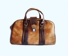 Vintage Caramel brown leatherette Travel Bag Suitcase by Vesiii