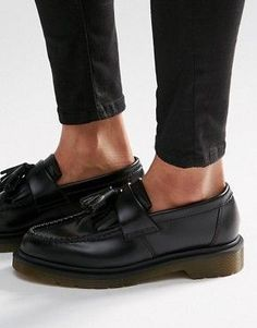 cde3a5590c5 Image 1 of Dr Martens Adrian Black Leather Tassel Loafer Flat Shoes