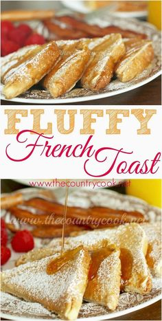 Fluffy French Toast recipe from The Country Cook. No more soggy french toast! This is like the best diner style french toast that anyone can make and it turns out perfect every time!
