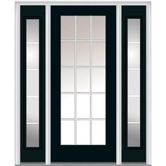 Milliken Millwork 64.5 in. x 81.75 in. Classic Clear Glass GBG Low-E Full Lite Painted Makestic Steel Exterior Door with Sidelites, Dark Night