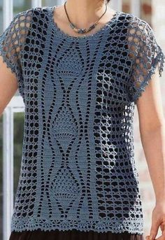 Yazlık örgüler Filet Crochet, T-shirt Au Crochet, Cardigan Au Crochet, Crochet Vest Pattern, Crochet Shirt, Crochet Woman, Modern Crochet Patterns, Crochet Patterns For Beginners, Crochet Clothes