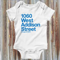 """Our """"Chicago Baseball Stadium (North Side)"""" one-piece for babies!  Our Chicago baseball, Wrigley Field address Creeper! Show 'em where your heart is on game day. It's available in your choice of several colors."""