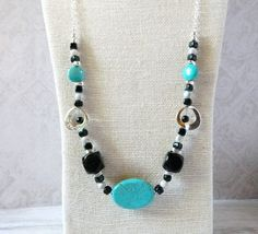 Silver & Turquoise Necklace Beaded Chain Necklace Bohemian