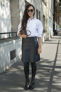 The 1 Piece of Clothing You Need For 2015 Edgy Dress, Black Leather Skirts, Leather Boots, Street Style Blog, Next Clothes, Work Attire, Piece Of Clothing, Leather Fashion, Fashion News