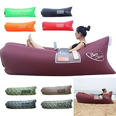 BonClare Fast Inflatable Air Lounger, Camping Bed Beach Sofa Air Bag Hangout Portable Sleeping Bag. ◆Floats on Water and Multiply Pockets: (Choose E-play, BonClare 2.0 is coming). The air lounger serves as a versatile one, life ring, inflatable boat and air sofa on water! When met with water, E-play Air Lounger lasts for 3 hours without water permeation. TWO pouches and ONE holder are on the sides of the lounge. Super convenient!. ◆Faster Inflation and Use Place: No pump needed. BonClare 2.0…