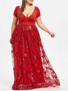 Floral Sparkly Long Maxi Dress Design Plus Size V-Neck Robe Evening Party Dresses Women Elegant Long Vestidos Prom Dresses With Sleeves, Plus Size Prom Dresses, Party Dresses For Women, Ladies Dresses, Sleeve Dresses, Summer Dresses, Plus Size Robes, Cocktail Gowns, Evening Cocktail