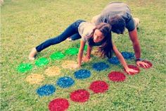 Games are so much fun, especially when you can play them outside! Easily create an outdoor twister mat on your lawn with spray paint. Who said twister was for kids only? This is the perfect activity for a summer party with adults, as well!