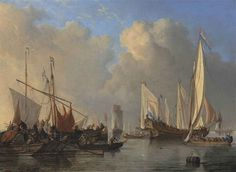 Willem van de Velde II, A Dutch States Yacht, a smalschip, a Rhine aak and other vessels in a calm