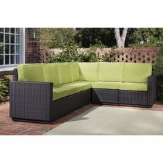 Love the color of the cushions!    Riviera 6 Seater L-Shape Sectional Sofa with Cushions in Green Apple - Home Styles - 5803-60
