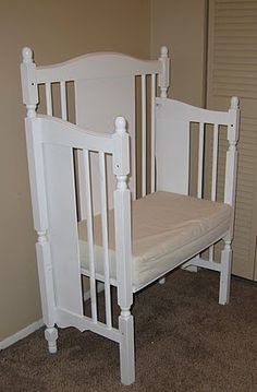 Recycle old baby crib into a bench.