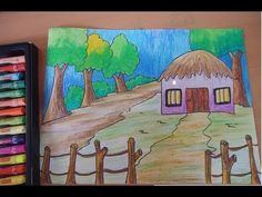 this video teaches you how to draw scenery and how to color it in simple steps Watercolor Art Face, Watercolor Art Landscape, Watercolor Art Lessons, Watercolor Art Paintings, Crayon Painting, Drawing For Kids, Painting For Kids, Drawing Pictures For Kids, Children Painting
