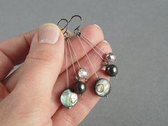 Dark Grey Drop Earrings  Deep Gray Wedding by annakingjewellery, £9.00