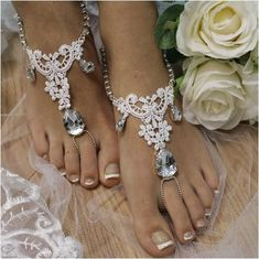 ROMANCE lace barefoot sandals - white | lace wedding foot jewelry