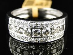 10K New Mens White Gold Round Cut Diamond Ring Wedding Band 1 1 Ct 7 5 Mm | eBay