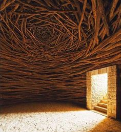 The Oak Room by Andy Goldsworthy via @Avant.arte | Extraordinary what one can do with branches when given the imagination of Andy Goldsworthy. Sculptures of natural materials such as snow, ice, leaves, bark, rock, clay, stones, feathers petals, twigs, are a common medium of the work by the innovative artist Andy Goldsworthy.  http://visualmelt.com/Andy-Goldsworthy