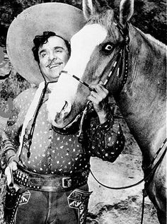 """Pancho (of TV fame, """"The Cisco Kid) and his horse Loco"""