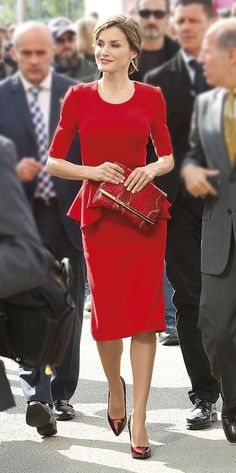 Queen Letizia. Red peplum (Carolina Herrera)